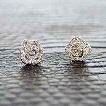 Boucles d'oreilles Lotus en argent et zirconium