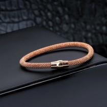 Bracelet tressé bille rose