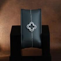 Bracelet doube trèfle en argent