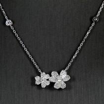collier argent massif coeur fleur