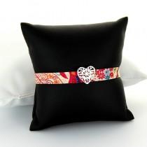 Bracelet tissu et argent Tendance Coeur