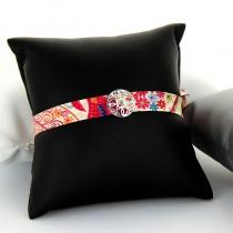 Bracelet tissu et argent Tendance Losange