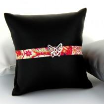 Bracelet tissu et argent Tendance Papillon
