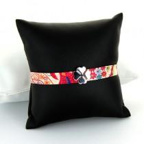 bracelet tissu fleuri et argent