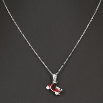 Collier argent scooter vespa rouge