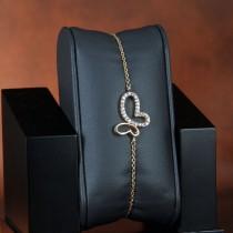 Bracelet papillon plaqué or et zirconium