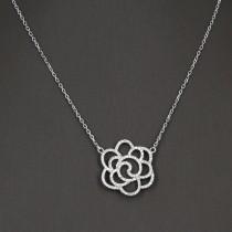 collier argent massif fleur